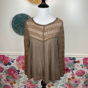 Intimately Free People Brown Delicate Lace Blouse Size Medium